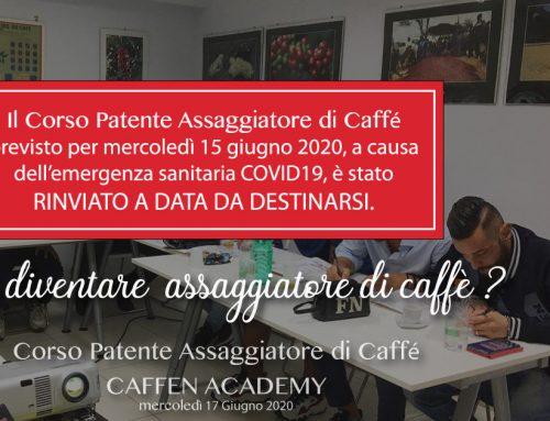 Rinviato il Corso Patente Assaggiatore di Caffè del 17 GIUGNO 2020